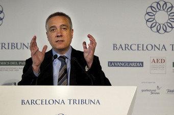 El primer secretario del PSC, Pere Navarro, durante la conferencia que dio en el Foro Barcelona Tribuna, organizado por 'La Vanguardia' Ana Jiménez